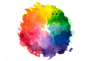 Impressionist style artistic color wheel or color palette drawn