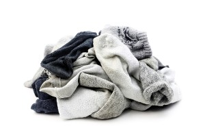 A lot of used socks isolated on a white background